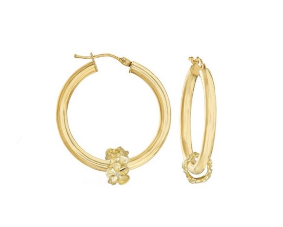 Gold Ear > Plumeria Hoop Earring with Plumeria Lei