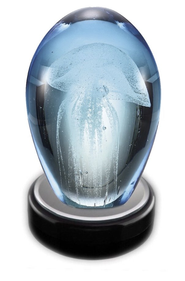 Statue > Jellyfish Glass with LED light box (Blue)