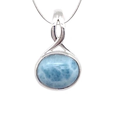 Larimar Oval Twist Necklace (with Chain)