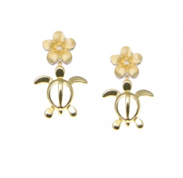 Gold Ear > Turtle w/Plumeria top Dangle Earring