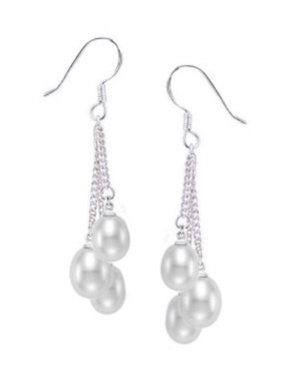 Ear > Pearl Chain Triple Dangle White Earring