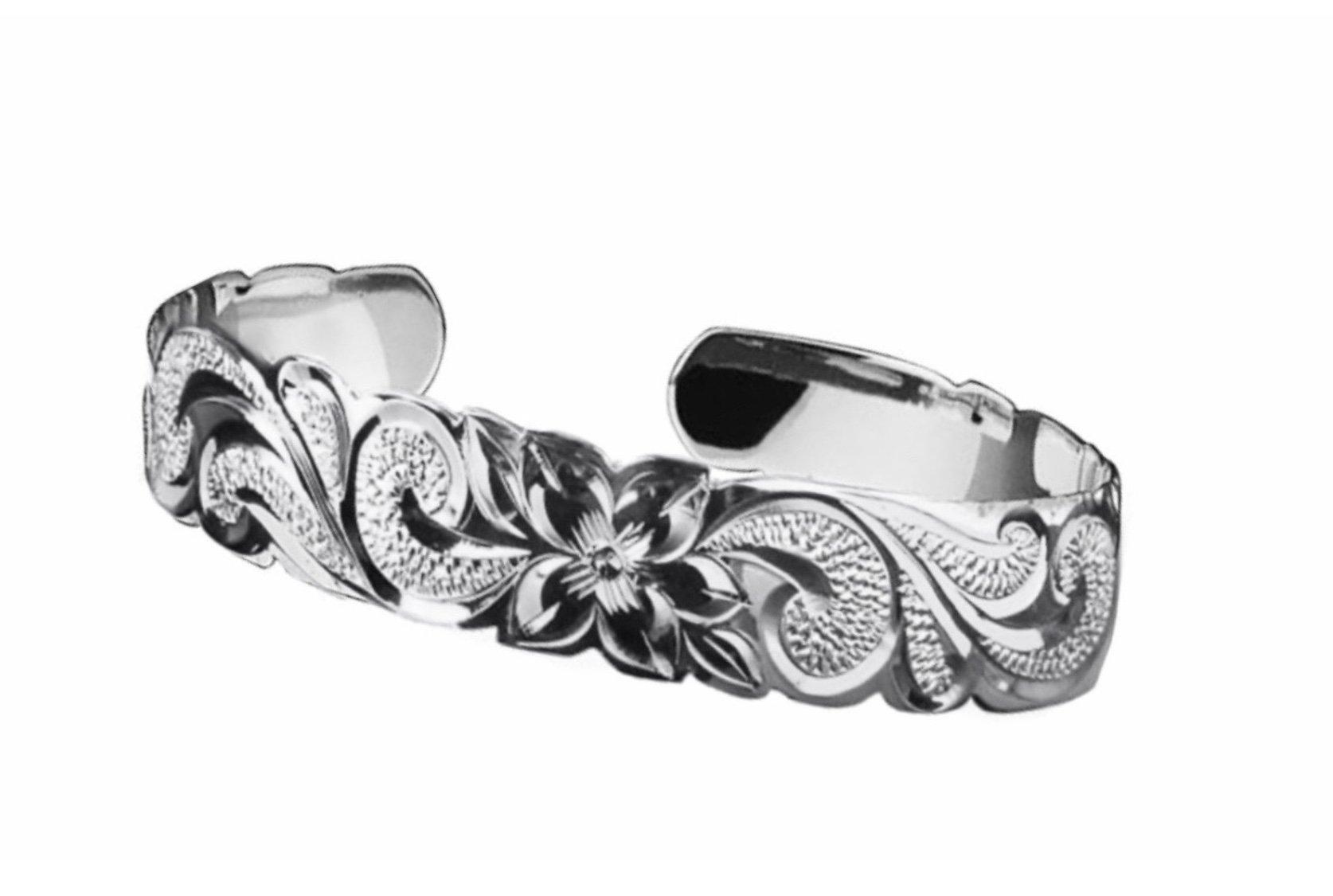 Hawaiian Cuff Bracelet   </p> Plumeria Flower Queen Scroll  <p>(Widths Available: 6mm - 18mm)