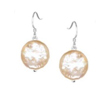 Ear > Pearl Coin Peach Dangle Earring