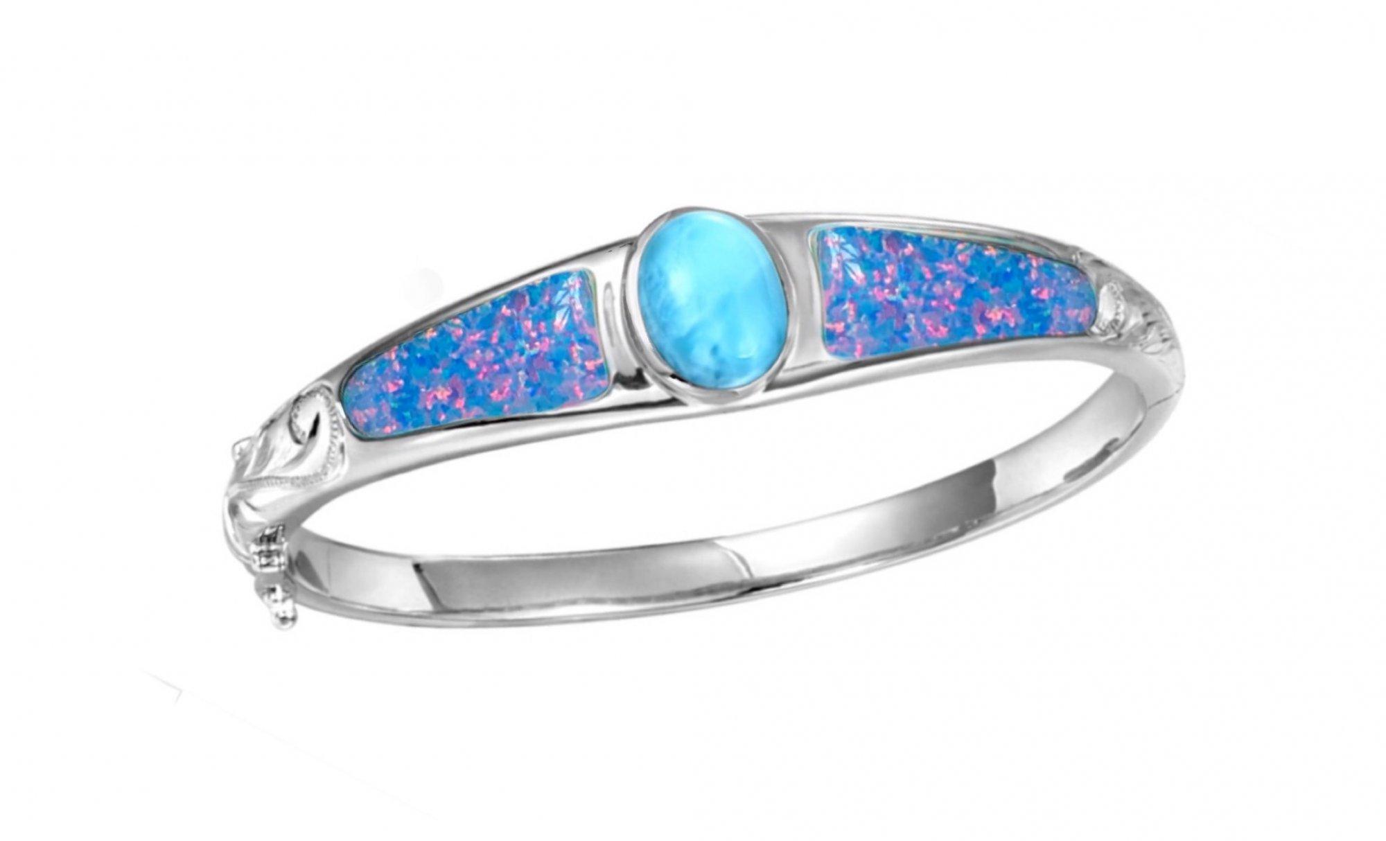 Larimar with Fire Opal & has Plumeria Queen Scroll Bracelet