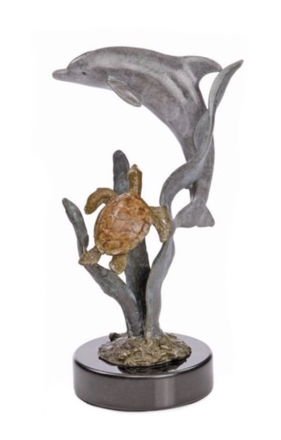 Statue > Dolphin & Turtle on Marble Base