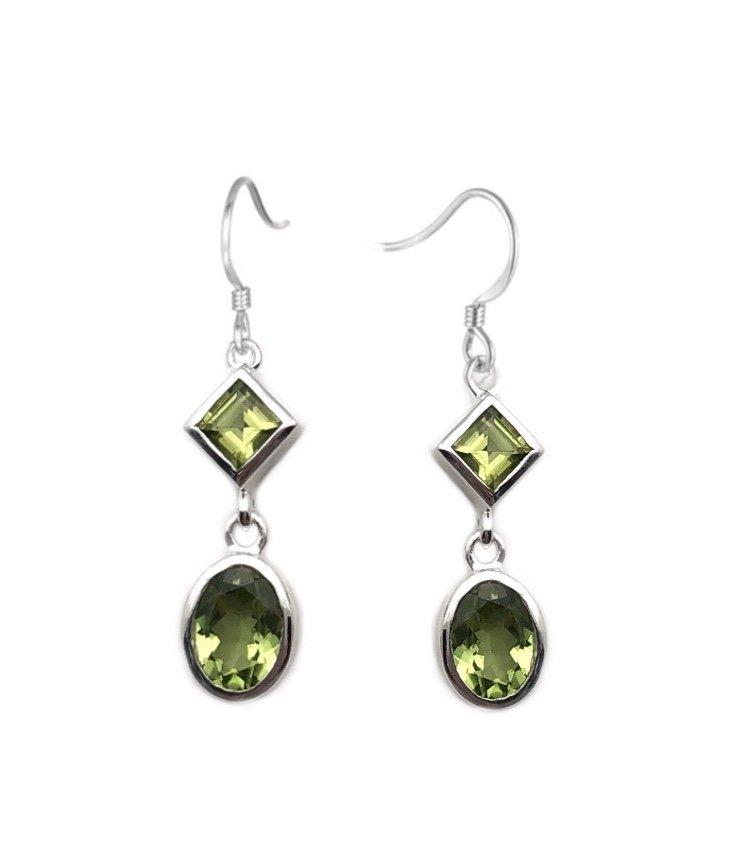 Ear > Peridot Diamond & Oval Shape Dangle Earring