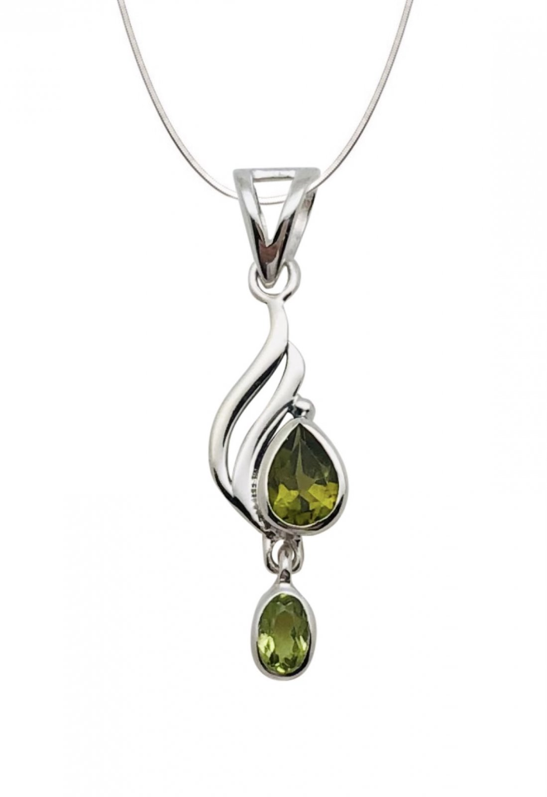Peridot Tear & Oval Stone Shape Necklace (with Chain)