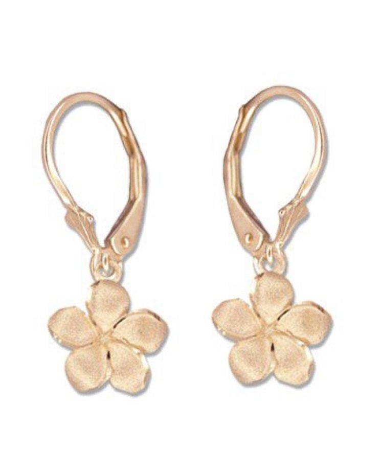 Gold Ear > Plumeria Flower Dangle earring  - Rose Gold