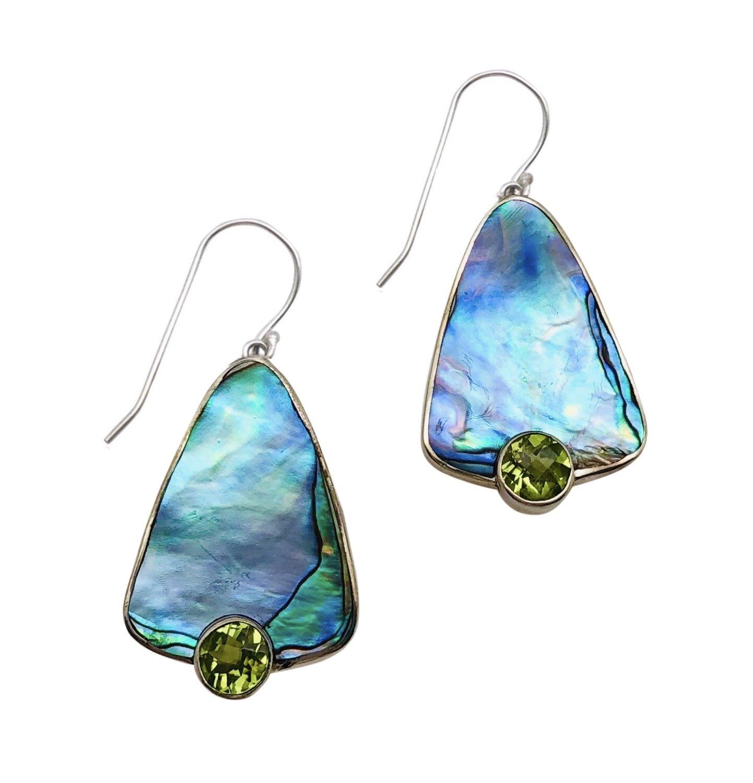 Ear > Peridot Round cut stone on Paua Abalone Shell Dangle Earring