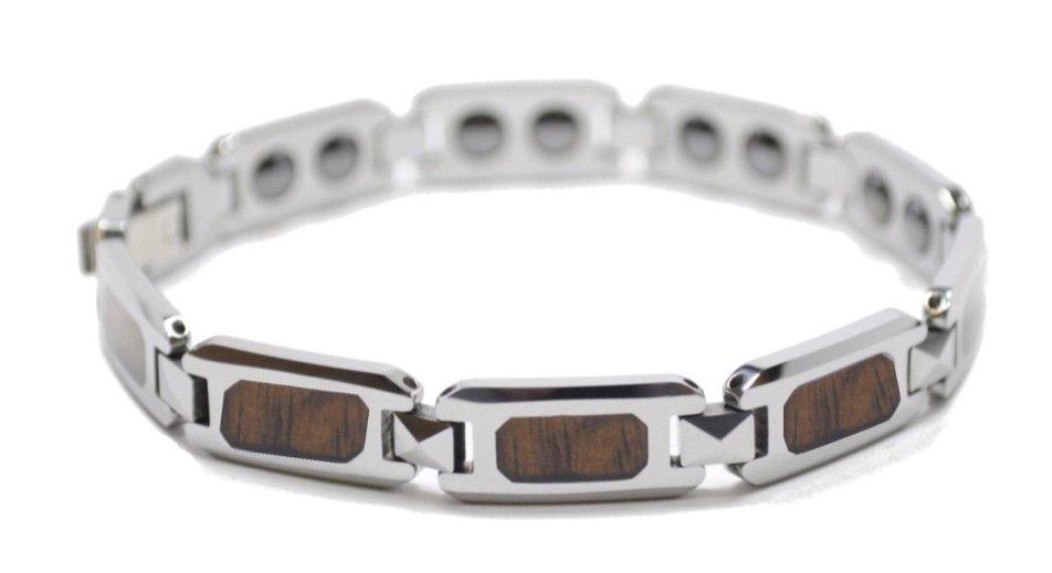 Koa Wood Link Tungsten Bracelet  (10mm Wide)