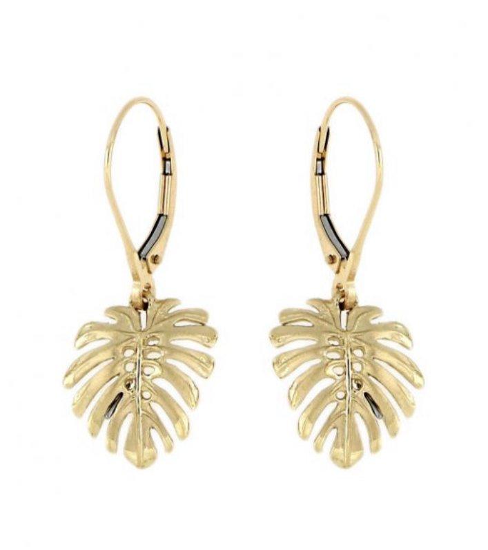 Gold Ear > Monstera Leaf Dangle earring