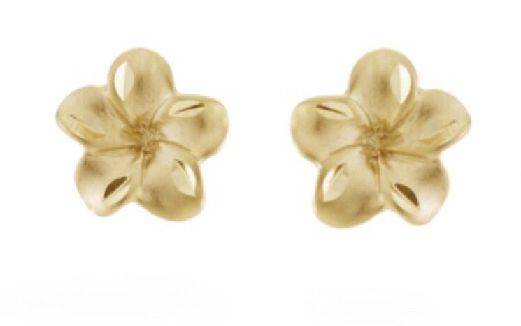 Gold Ear > Plumeria Post Earring (8mm)