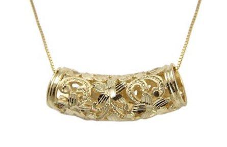 Gold Pend > Plumeria Lava Tube Slide Pendant (24mm -  chain not included)