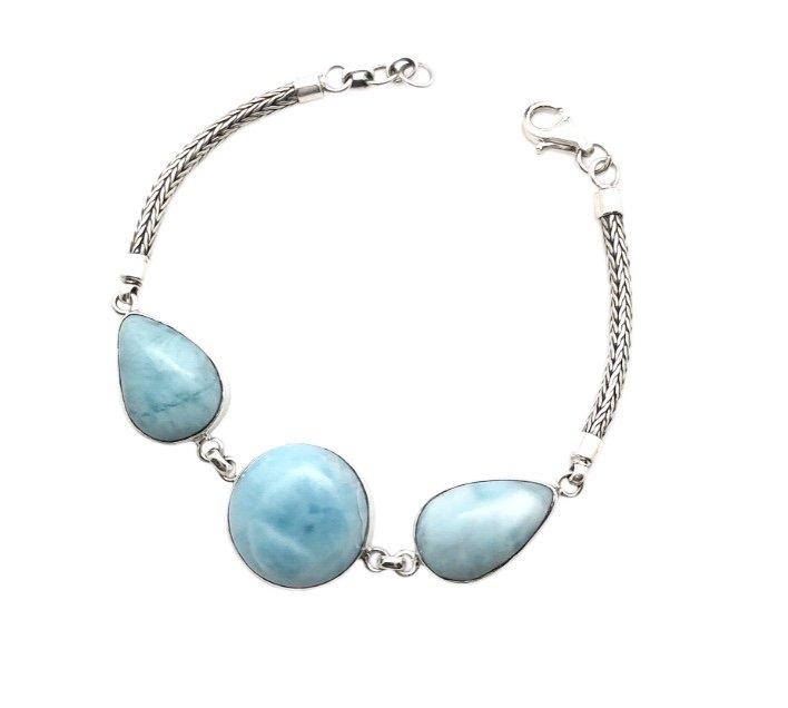 Brac > Larimar 3 Stone Bracelet