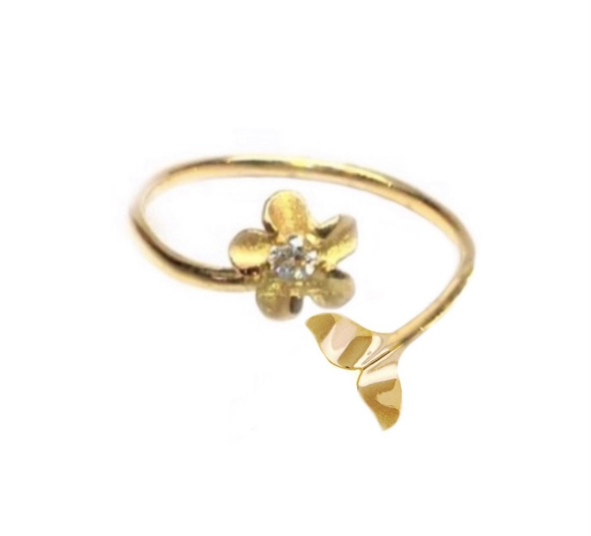 Ring > Plumeria Flower & Whale Tail Ring / Toe Ring - Gold