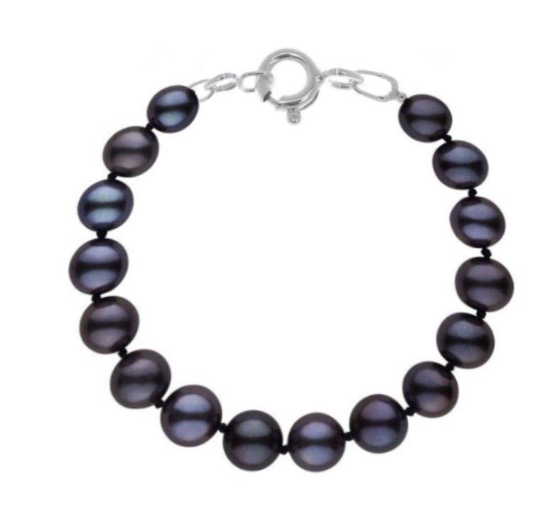 Brac > Pearl Round Black Bracelet  (10mm)