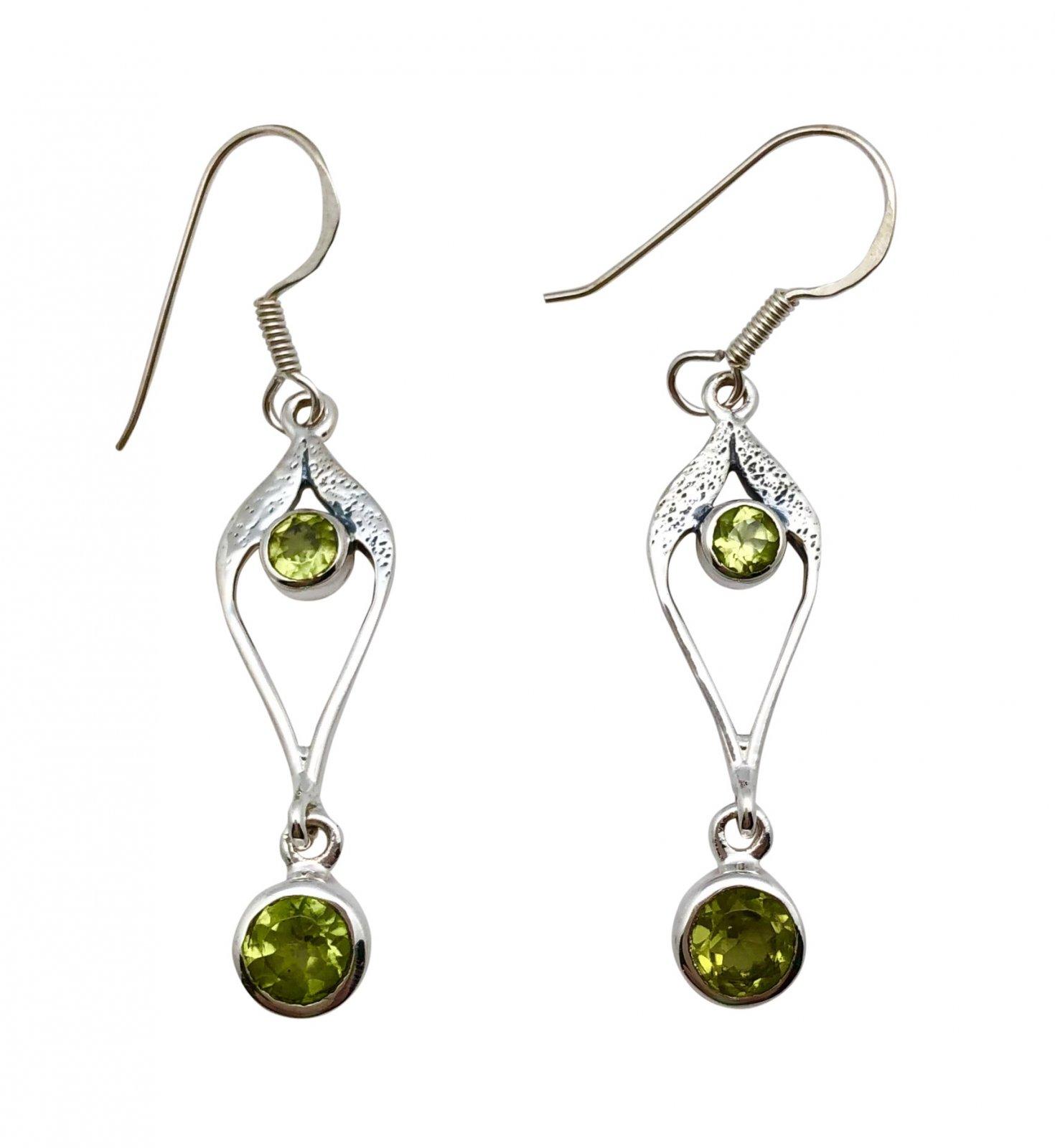 Ear > Peridot Round Drops Dangle Earring
