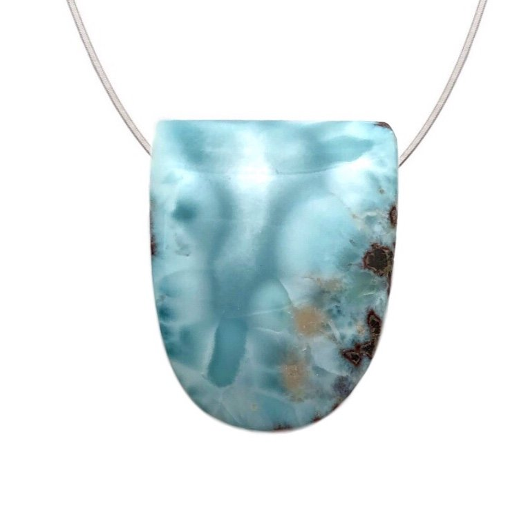Larimar Large Stone Necklace (with Chain)