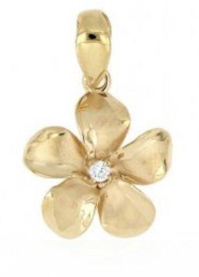 Gold Pend > Plumeria Pendant (16mm - Yellow Gold)