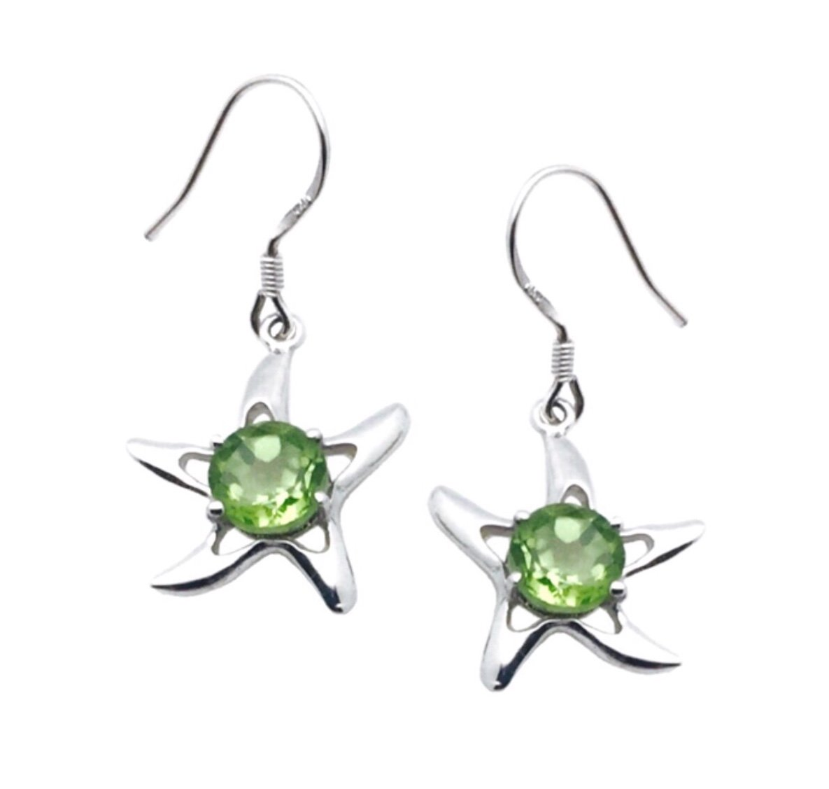 Ear > Peridot Starfish Dangle Earring