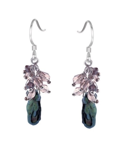 Ear > Pearl with Crystals Dangle Earring - Black