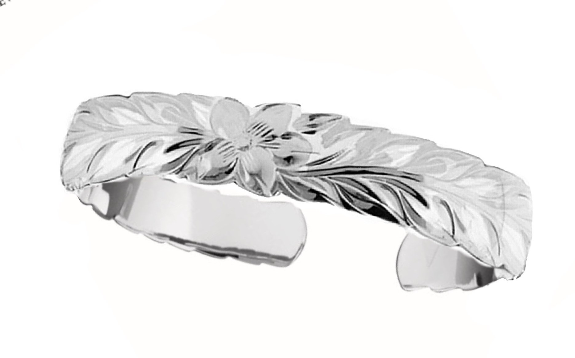 Hawaiian Cuff Bracelet   </p> Plumeria Flower with Maile Leaf Scroll  <p>(Widths Available: 6mm - 18mm)