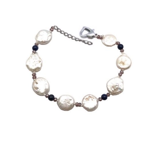 Brac > Pearl Coin with Crystals Bracelet  - White