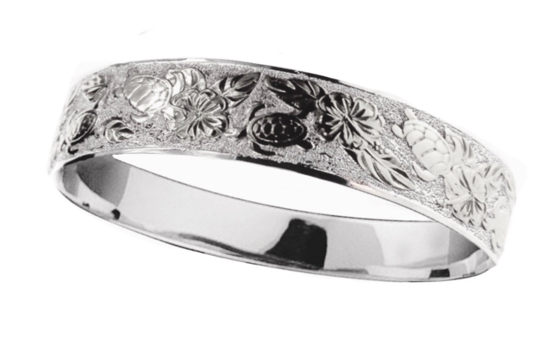 Hawaiian Bangle Bracelet   </p> Turtle with Hibiscus Flowers <p>(Widths Available: 10mm - 18mm)