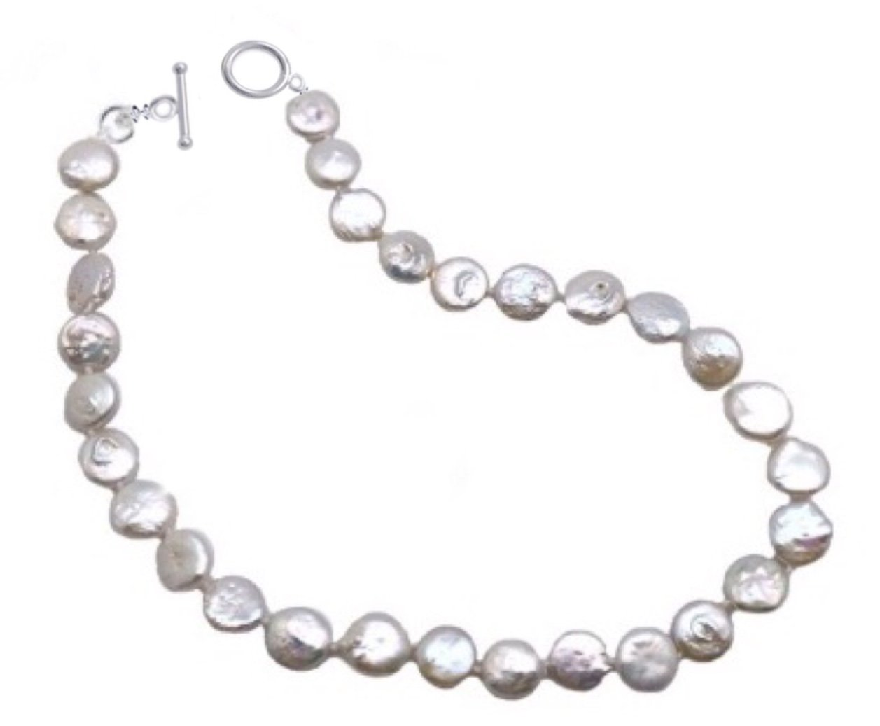 Pearl Coin Necklace - White (22 length)