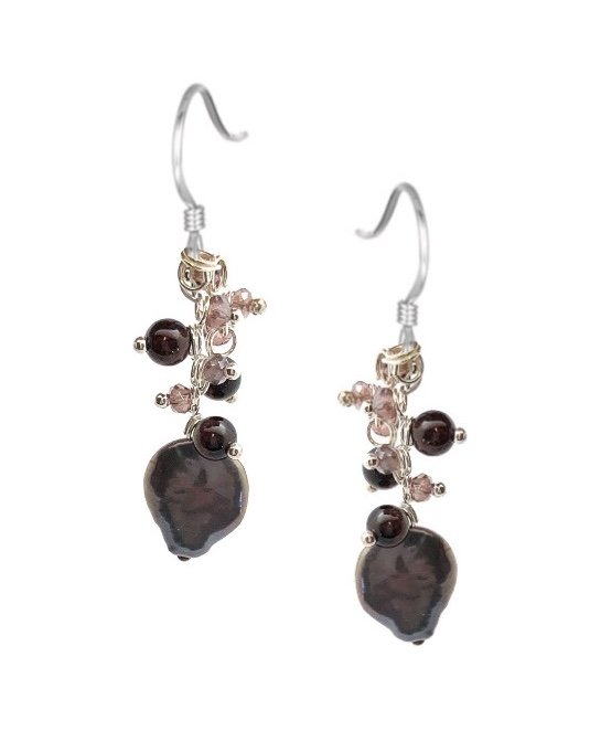 Ear > Pearl with Crystals Dangle Earring
