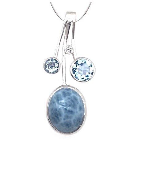 Larimar Oval Shape w/Blue Topaz Necklace (with Chain)