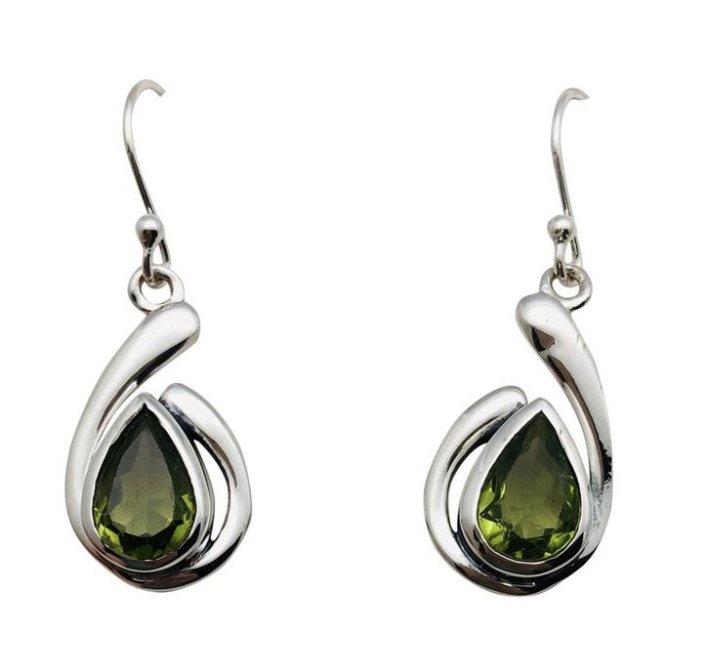 Ear > Peridot Tear Shape Dangle Earring
