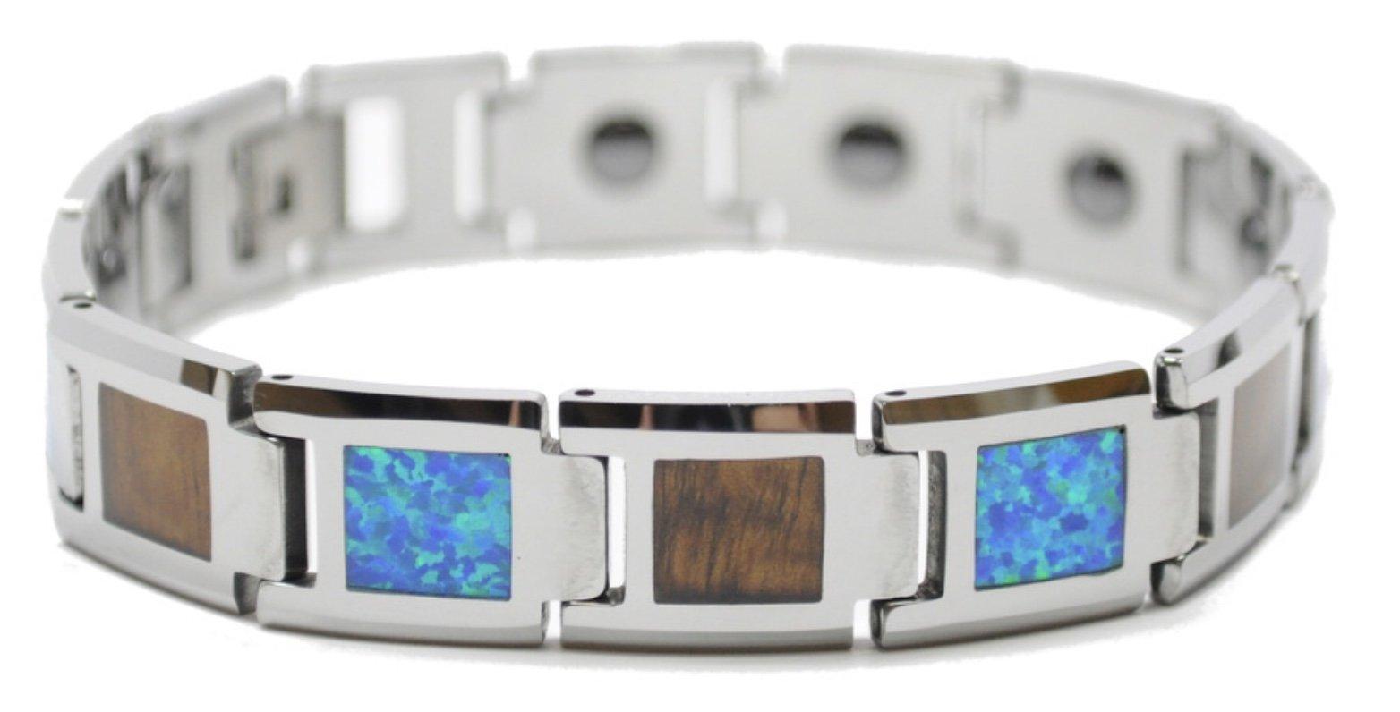 Koa Wood & Opal Link Tungsten Bracelet  (14mm Wide)