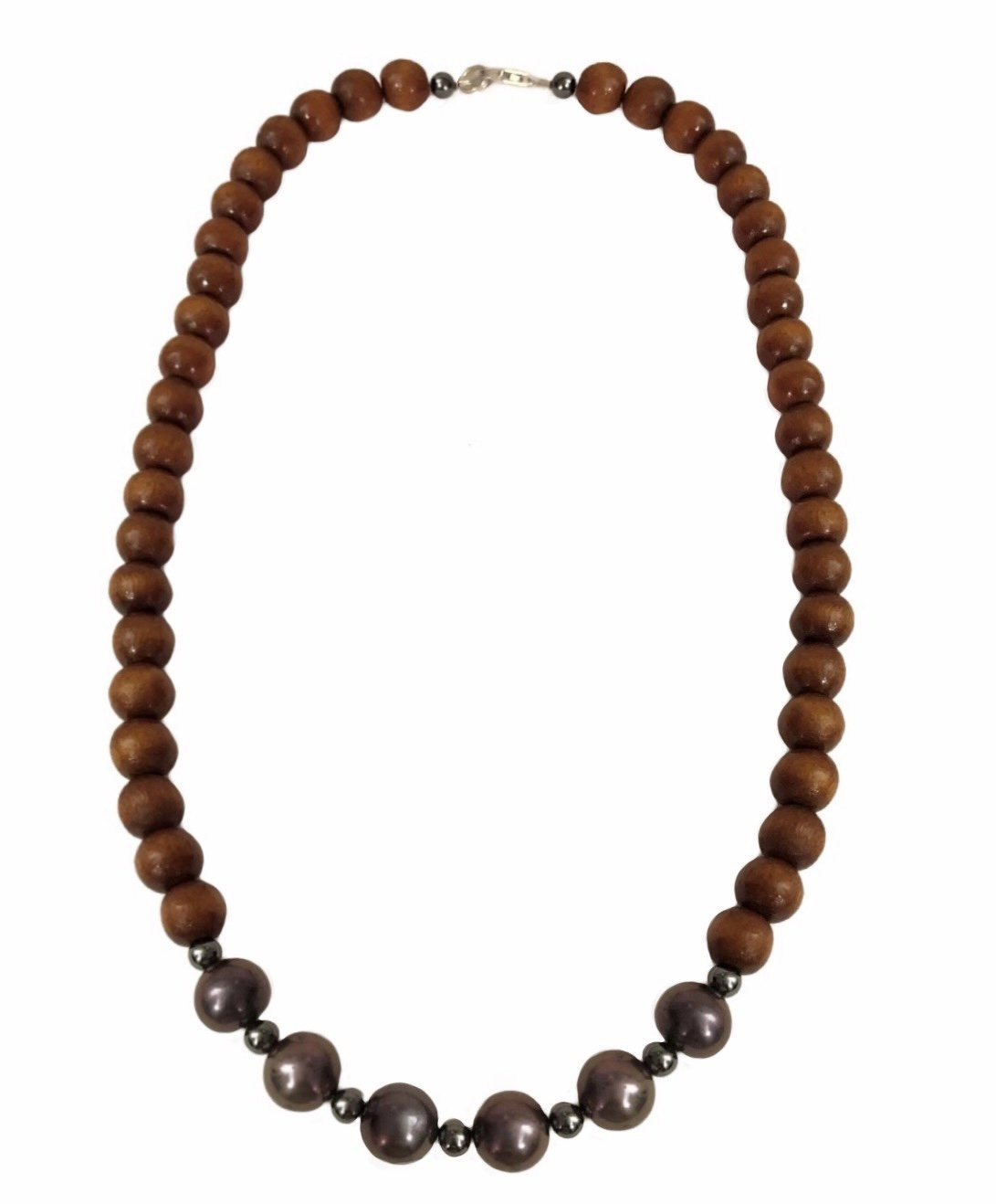 Pearl Black with Koa Wood Necklace