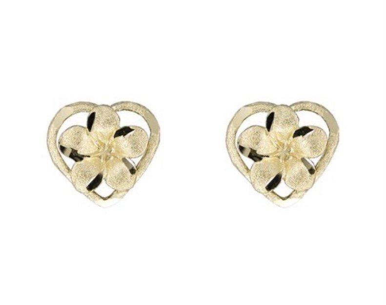 Gold Ear > Plumeria Flower in Heart Post Earrings