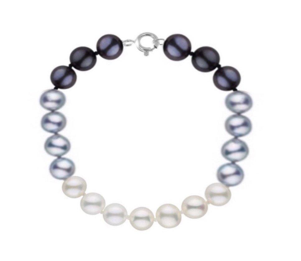 Brac > Pearl Round Black, White & Silver Bracelet (8mm)
