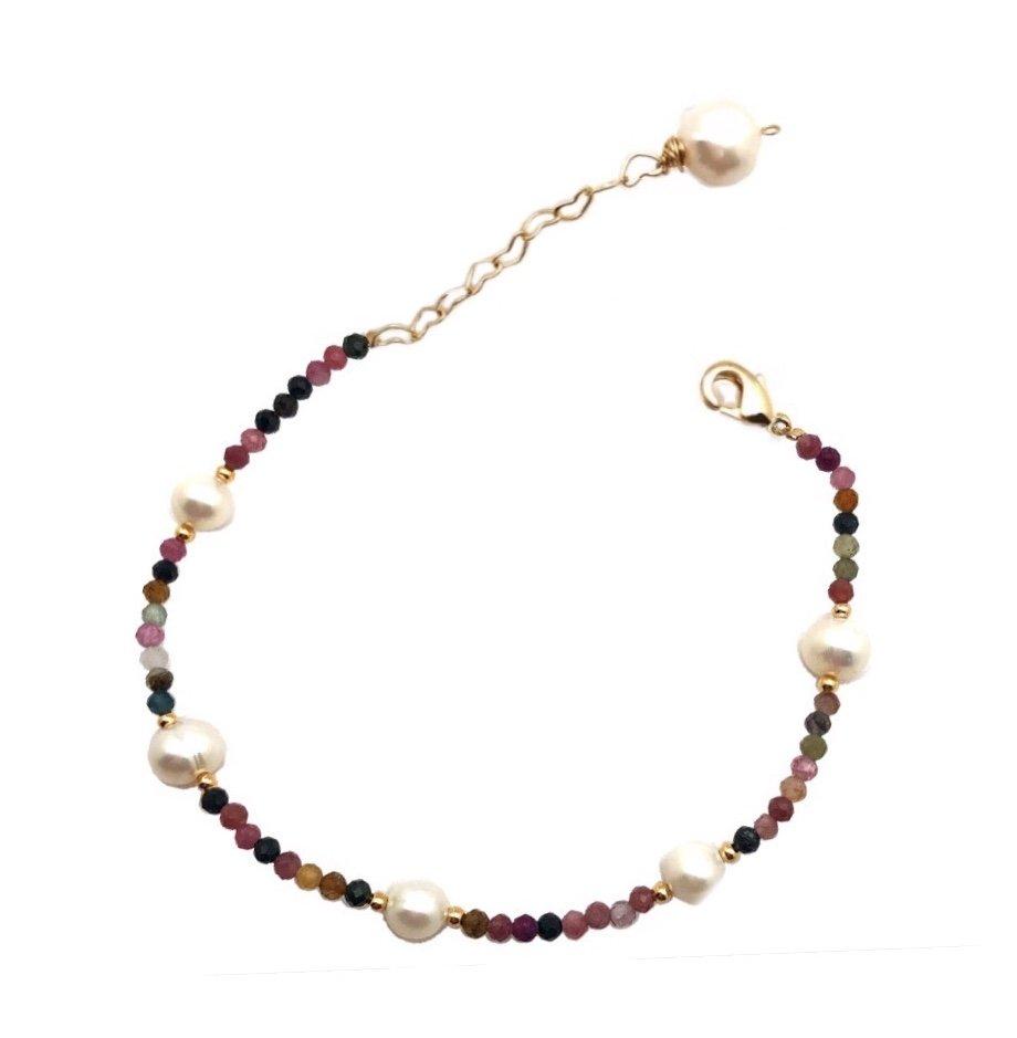 Brac > Pearl with Tourmaline Bracelet