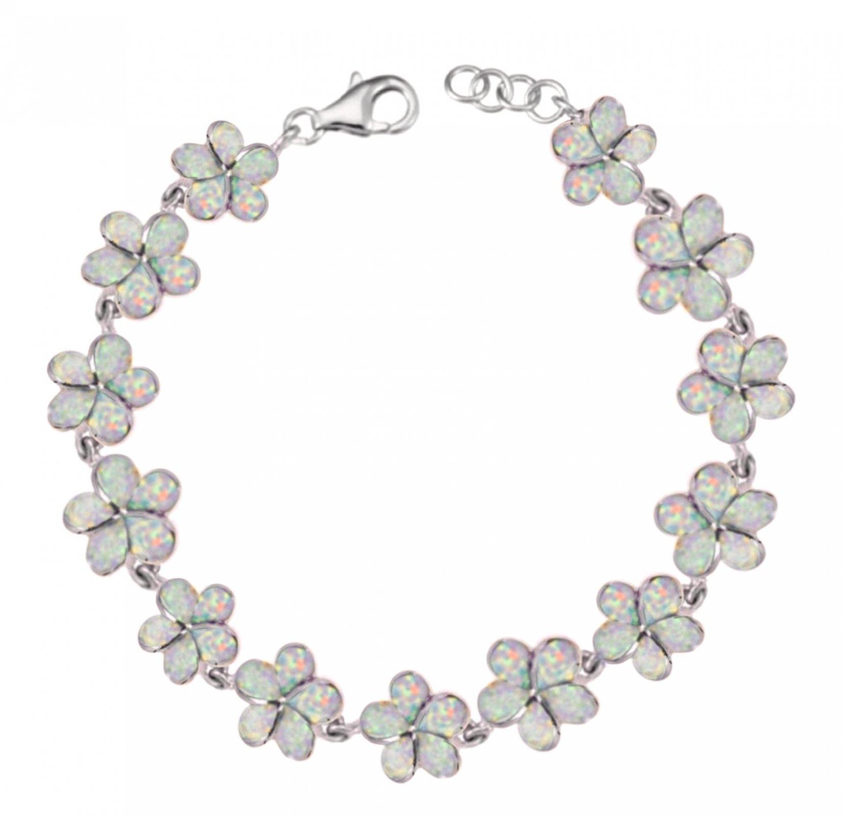 Opal Plumeria Flower Bracelet - White