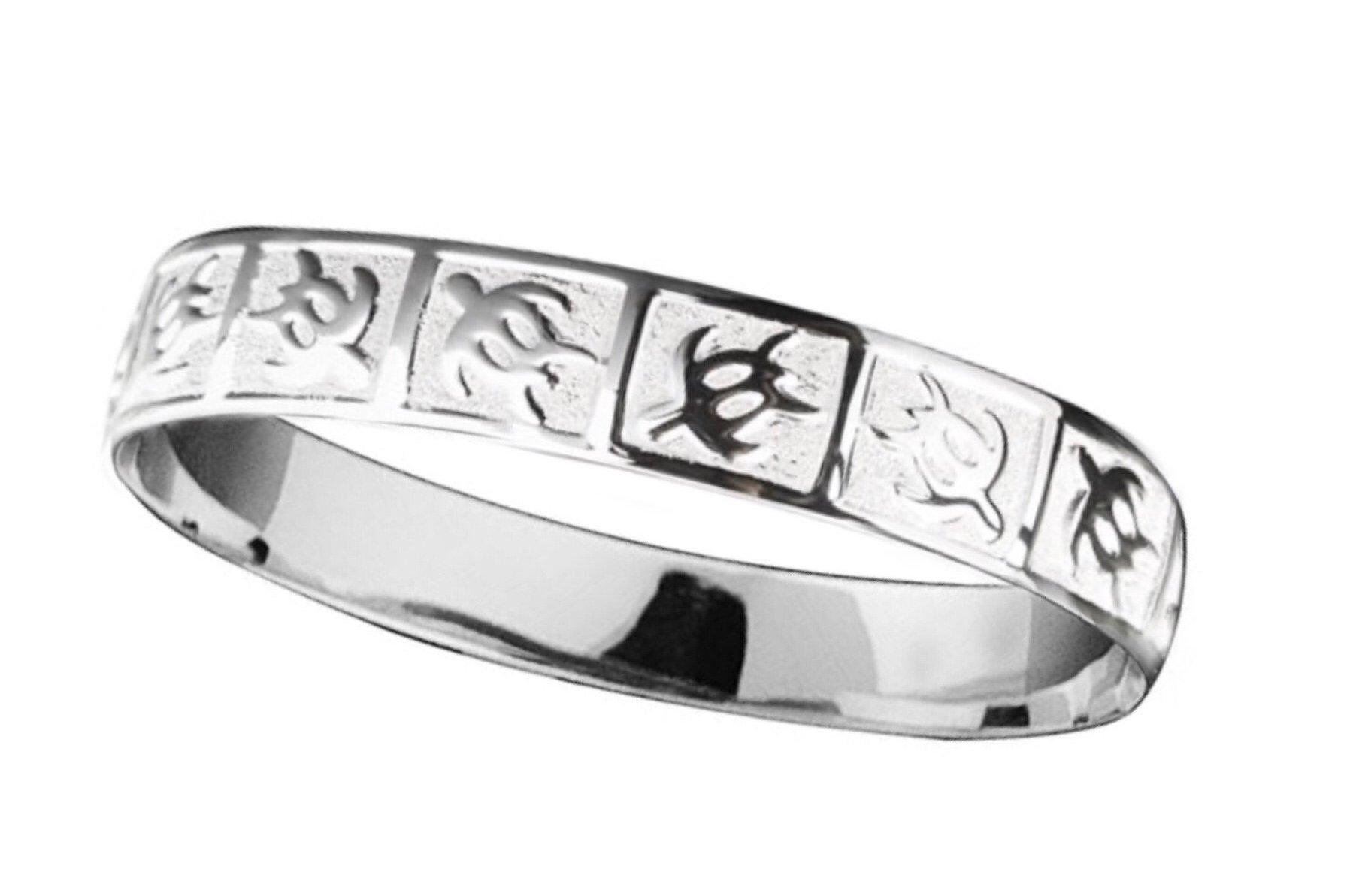 Hawaiian Bangle Bracelet   </p> Petroglyph Turtle (Honu) <p>(Widths Available: 8mm - 18mm)
