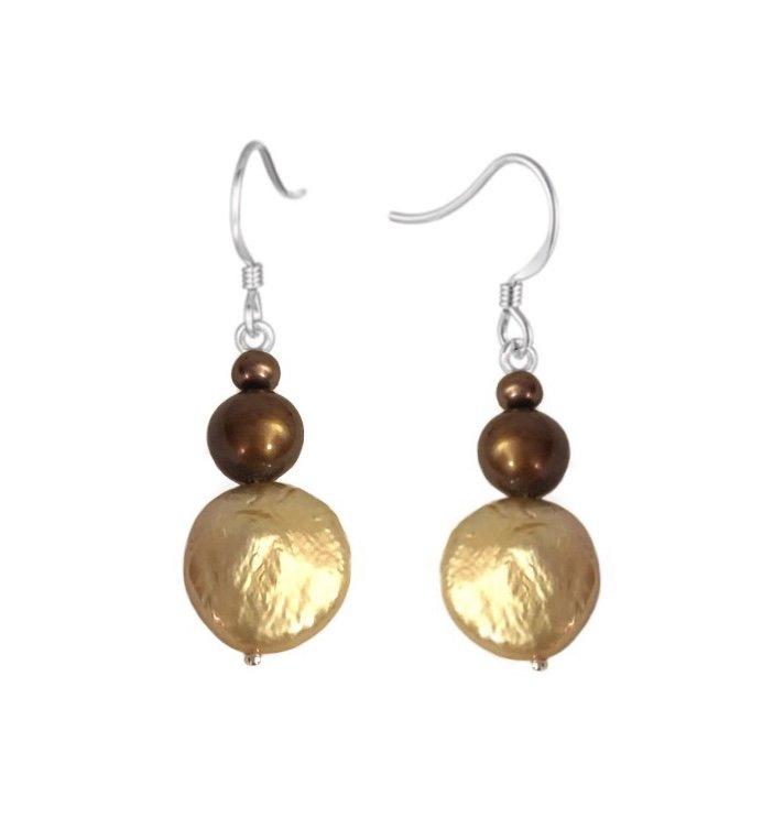 Pearl Chocolate & Champagne tone Colors Dangle Earring