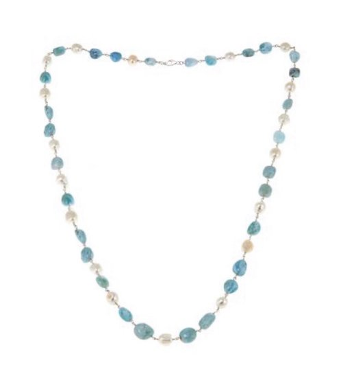 """Larimar Silver links w/Pearl Necklace (38"""")"""