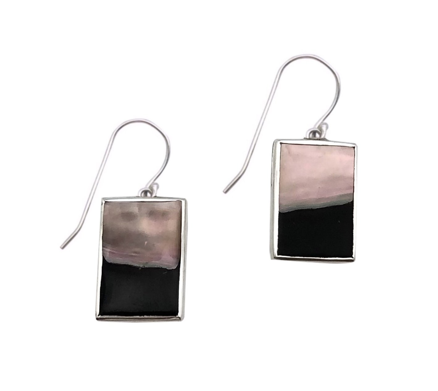 Ear > Black Lipped Pearl Oyster Dangle Earring  - Rectangle Shape