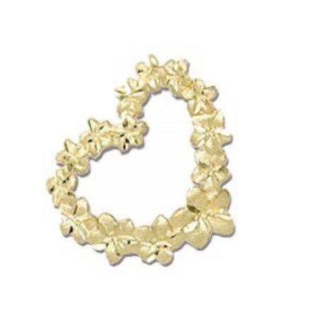 Gold Pend > Plumeria Floating Heart Lei Pendant