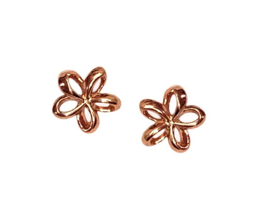 Gold Ear > Plumeria Post Earring (8mm Cut out Open style)