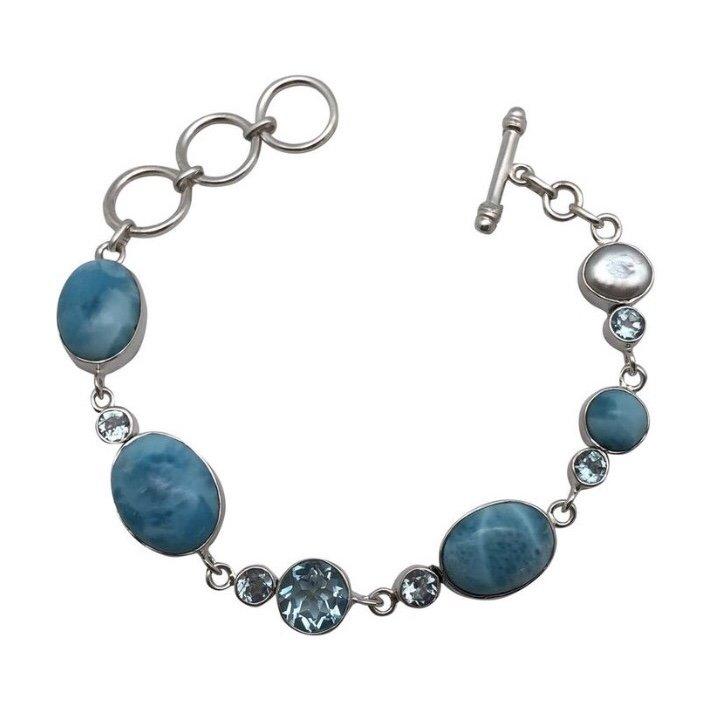 Brac > Larimar w/ Blue Topaz & Pearl Bracelet