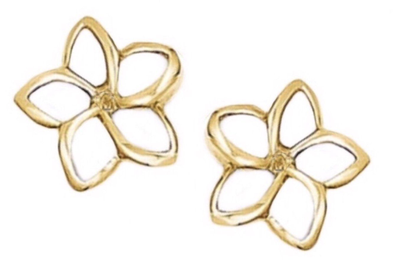 Gold Ear > Plumeria Post Earring (10mm Cut out Open style)