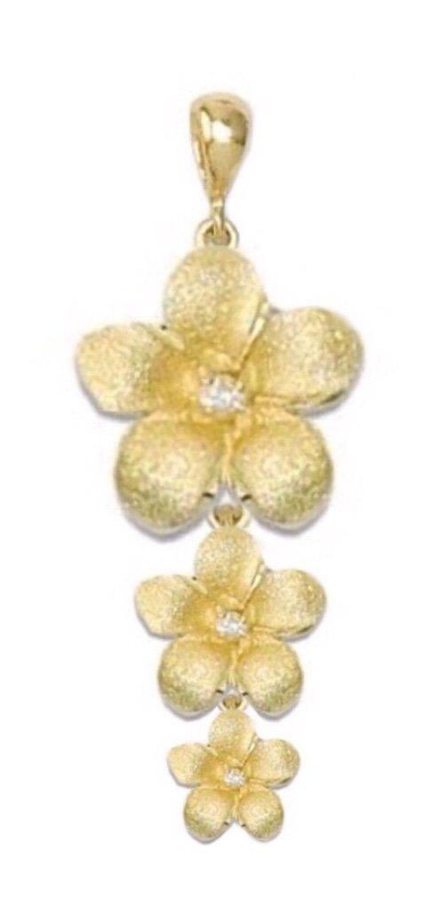 Gold Pend > Plumeria Past, Present, Future Pendant