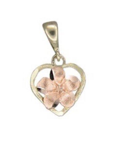 Gold Pend > Plumeria Flower in Heart Pendant