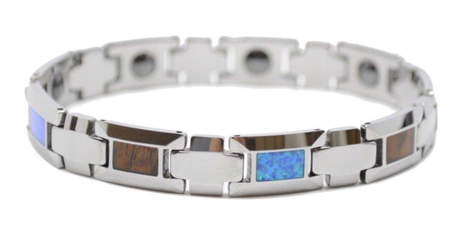 Koa Wood & Opal Link Tungsten Bracelet (10mm Wide)