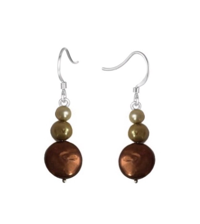 Pearl Chocolate & Harvest tone Colors Dangle Earring